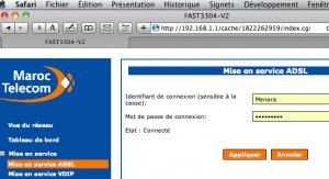 Copie d'écran à partir de Safari sur Sagem Fast 3304 V2 proposant les mauvais identifiants par défaut